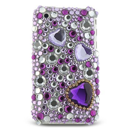 Purple Heart & Jewelry Full Diamond Back Piece Hard Cover Faceplate Protector Case for Apple Iphone 3g - Diamond Protector Faceplate