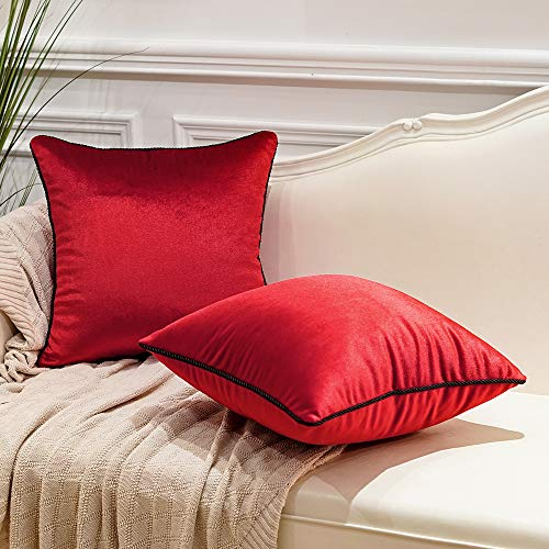 Avigers Pack of 2 Luxury Warp-Knitted Velvet Solid Soft Decorative Square Throw Pillow Covers Set Cushion Case for Sofa Bedroom Car 18 x 18 Inches 45cm x 45cm, Navy Red