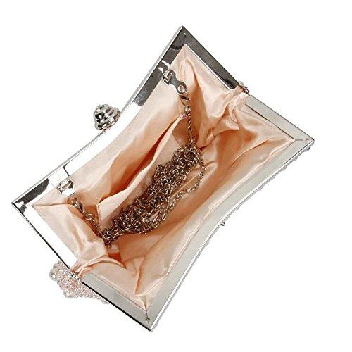 B-JOY Elegant Handgemacht Mehrfarbig Perlen Beaded Clutch Brauttasche Unterarmtasche Party Abendtasche Pink kUaO2Tzq