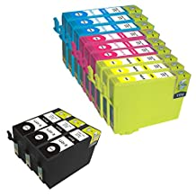 Proosh Compatible 12 Ink Cartridges for T127 (#127) Non OEM; 3 Black T1271, 3 Cyan T1272, 3 Magenta T1273, 3 Yellow T1274 for use in Compatible Printers: Epson Stylus NX530, NX625 and WorkForce WF-7010, WF-7510, WF-7520, WF-3520, WF-3530, WF-3540 and WorkForce 60, 545, 630, 633, 635, 645, 840, 845