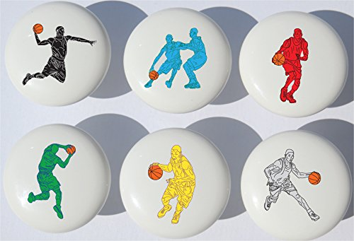 Basketball Drawer Pulls/Sports Furniture Ceramic Cabinet Knobs/Set of 6
