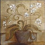 Ceramic Tile Mural - Orchid Delight - by Tre Sorelle Studios - Kitchen backsplash / Bathroom shower