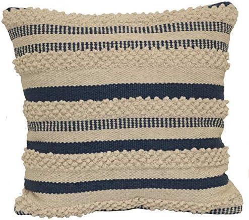 Brentwood Originals Textured Stripe Pillow, 18 x 18 , Indigo Natural