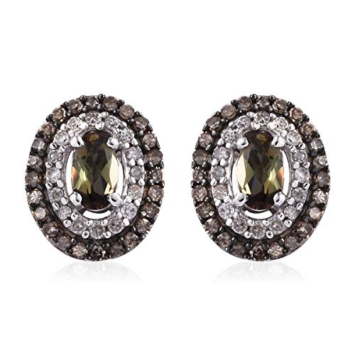 925 Sterling Silver Black Rhodium Plated Andalusite Champagne Diamond Stud Solitaire Earrings Cttw 0.8
