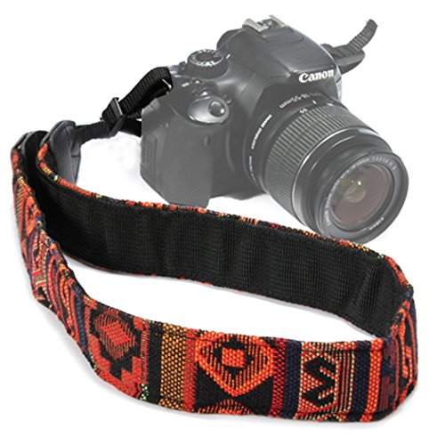Wanby Camera Soft Shoulder Neck Universal Camcorder Belt Strap Vintage Antislip Belt for All DSLR Camera Canon Nikon Sony Pentax Fujifilm Colorful