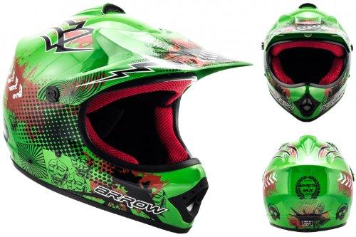 ARROW AKC-49 Green · Sport Junior Cross-Bike Motorrad-Helm Quad Pocket-Bike Kinder-Helm Cross-Helm Enduro MX Kinder-Cross-Helm Moto-Cross-Helm Helmet Kids ,DOT zertifiziert ,inkl. Stofftragetasche ,Grün · S (53-54cm)