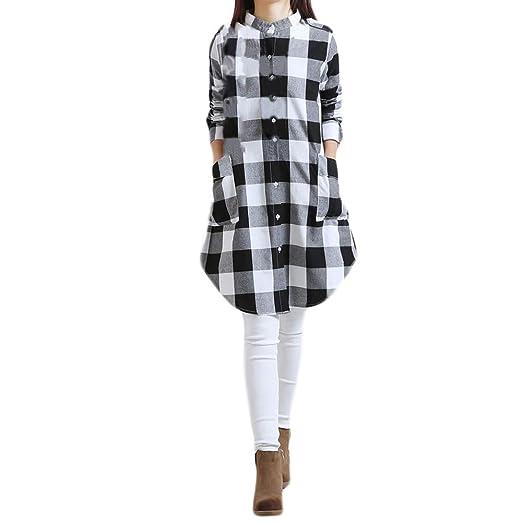 fb7c93994ad Gooldu Plaid Tops Blouse, Women Plus Size Lattice Pocket Cotton and Linen Long  Sleeves Loose Tops Blouse at Amazon Women's Clothing store:
