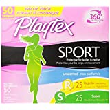 Playtex Sport Unscented Tampons with FlexFit Protection, Multipack of Regular & Super Absorbency, Pack of 50 Tampons