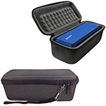 Hard EVA Travel Carry Pouch Sleeve Portable Protective Box Cover Bag Cover Case for Sony SRSX3 / SRSX33 Wireless Bluetooth Speaker System Storage Box with Carabiner Clip (Stripe)