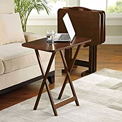 5 Piece Tray Table Set Folding Wood TV Game Snack Dinner Couch Laptop Stand (1)