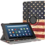 "MoKo Case for All-New Fire HD 8 2018/2017/2016-360 Degree Rotating Cover with Auto Wake/Sleep for Amazon Fire HD 8 (7th Gen, 2017 / 6th Gen, 2016) 8"" Tablet, US Flag"
