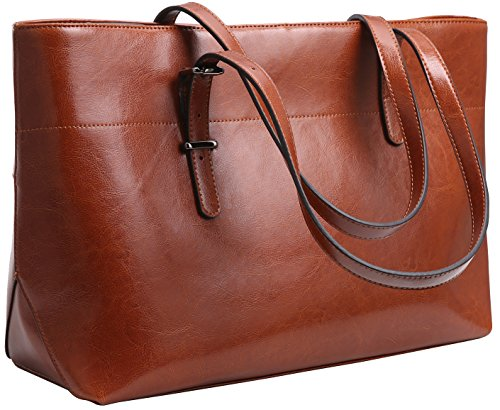 Iswee Womens Leather Shoulder Handbag Tote Bags Top Handle Bag Designer Ladies Purses Fashion Large Capacity Bags (Horizontal Version-Brown)