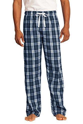 District Men's Young Flannel Plaid Pant L True Navy