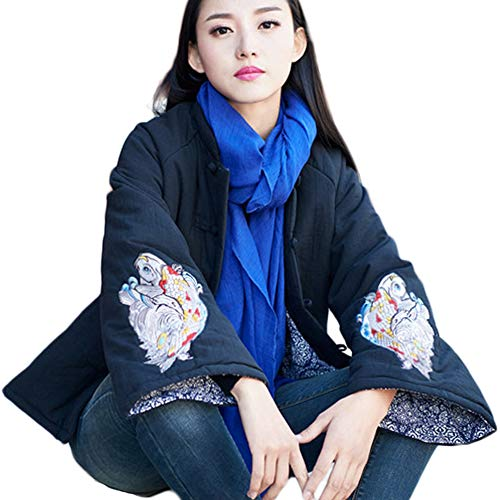 Women's Chinese Style Cotton Padded Coats Embroidered Tang Suit Jackets for Early Winter (Black)