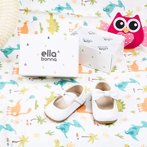 Ella Bonna Baby Girls Mary Jane Flats, Bow Tie Leather Princess Wedding Dress Shoes, Anti-Slip Rubber Sole