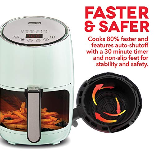 DASH Compact Electric Air Fryer + Oven Cooker with Digital Display, Temperature Control, Non Stick Fry Basket, Recipe Guide + Auto Shut Off Feature, 1.6 L, up to 2 QT, Aqua by DASH (Image #4)
