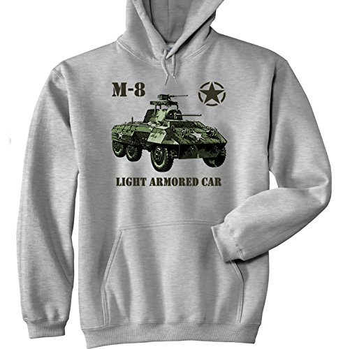 Teesquare1st Men's M-8 LIGHT ARMOURED CAR USA WWII Grey Hoodie Size - Armoured Light