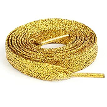 9f9ea575ded0 Metallic Glitter Shoe Boot Laces - Pink, Blue, Purple, Gold, Silver or  Black (Gold): Amazon.co.uk: Clothing