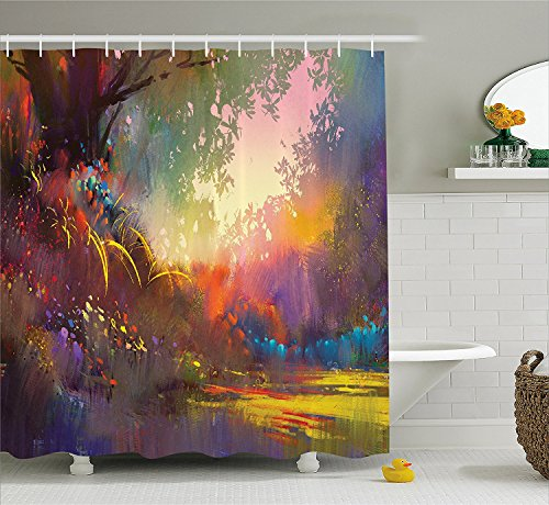 Fantasy Art House Decor Shower Curtain Magical Lake with Brush Effects Surreal Nature Elf Tranquil Art Print Fabric Bathroom Decor Set with Hooks (Ebay Elf Costume)
