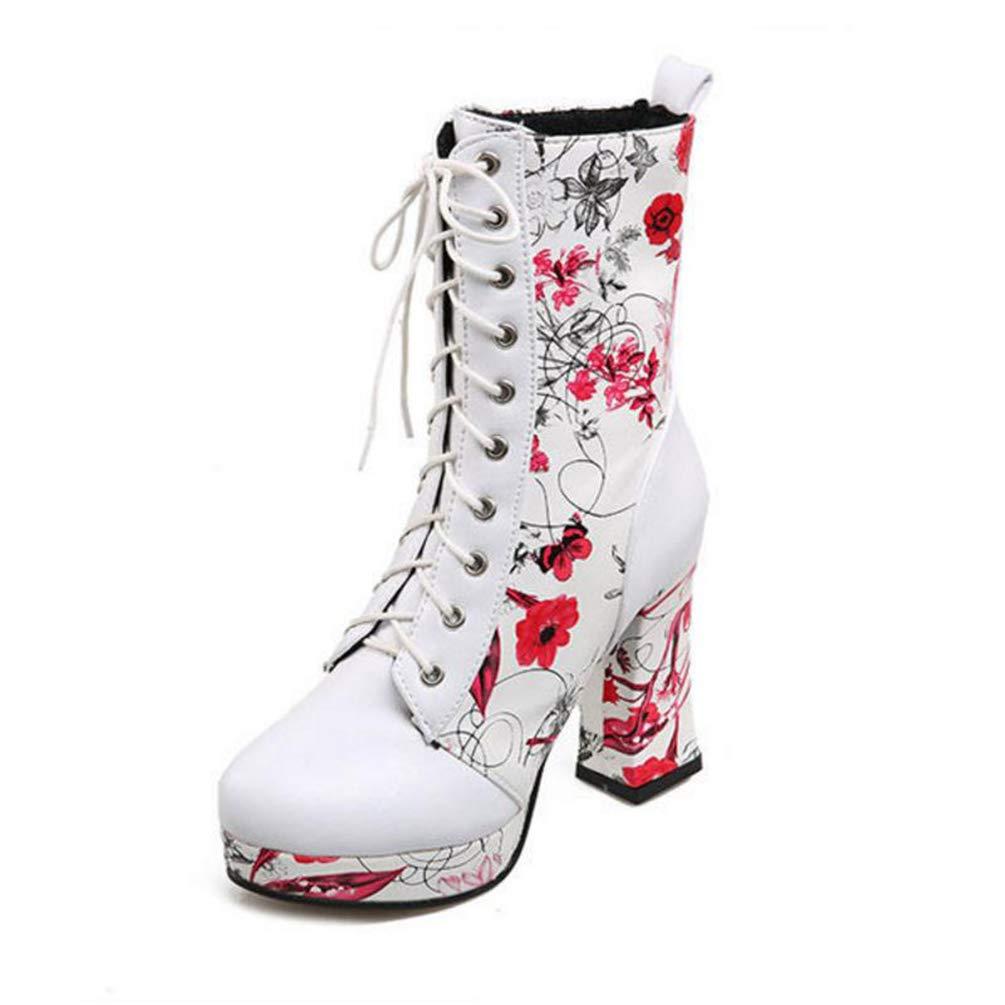 Frauen Winter Schuhe schnüren High Heel High-Top High-Top High-Top kariert Heels Print Blaumen mit Pelz Mode Schlichtes Design Schuhe für Mädchen 5efb3d