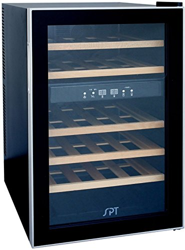 SPT WC-2463W Dual-Zone Thermo-Electric Wine Cooler with Wooden Shelves (24 Bottles) -