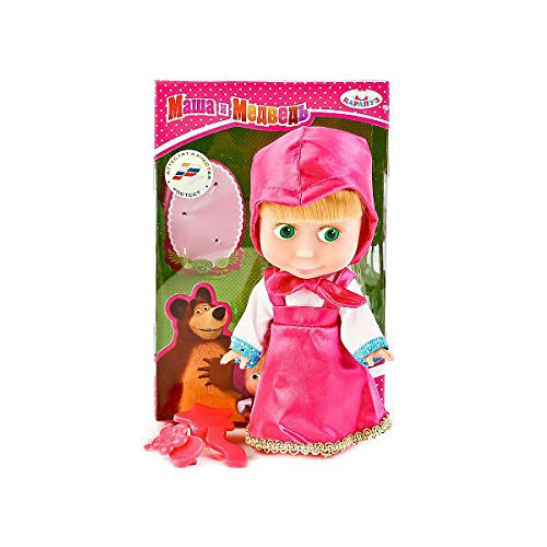 Masha and the Bear Doll Masha Sings 12 cm (4.7 inch ) Russian Language! Toy Dress Doll, The Famous Cartoon,a Soft Gift, Girl, Birthday Interactive from Masha and the Bear