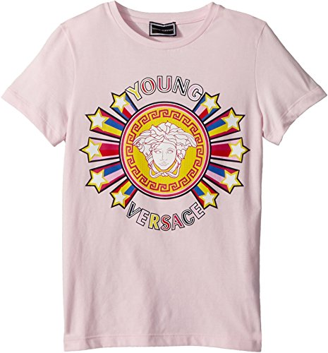 Versace Kids Girl's Short Sleeve Tee With Logo Graphic (Big Kids) Pink 9-10 by Versace