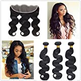 JinXiu Hair Unprocessed Peruvian Virgin Hair With Closure 13×4 Lace Frontal With Bundles 8a Grade Body Wave Human Hair Extensions Cheap Bundles With Ear To Ear Lace Closure Natural Color(20 22 24 +18)