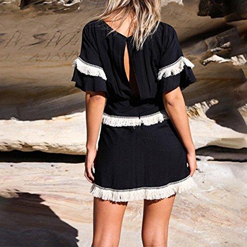 Birdfly Manches Courtes Mince Pompon Simple Fermeture Éclair Dos Nu Taille Mini-robe Noire