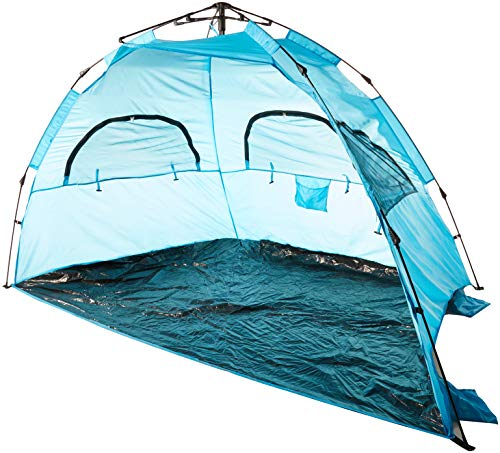 AfterGen Easy Setup Beach Tent Portable Pop Open Sun Shelter Strong UV Protection Sun Shade for Beach, Camping, Sporting Events with Sand Pockets Folding Canopy Umbrella Personal Cabana (Large Size)