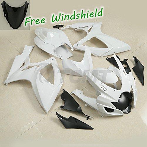 (TCMT ABS Plastic INJECTION Unpainted White Motorcycle Fairing Bodywork Kit Fits For SUZUKI GSXR 600 GSX-R 750 2006-2007)