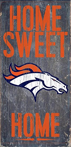 Denver Broncos Official NFL 14.5 inch x 9.5 inch Wood Sign Home Sweet Home by Fan Creations 048388 by Fan Creations