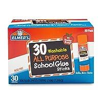 Barras de pegamento escolar de uso múltiple de Elmer, lavable, 7 gramos, 30 unidades