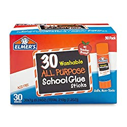 Permanently bond items to paper, cardboard, foam board, display board, and more with Elmer's All Purpose Glue Sticks. Specially formulated to be easy to use and clean up, Elmer's washable glue sticks are perfect for arts, crafts, and school projects....