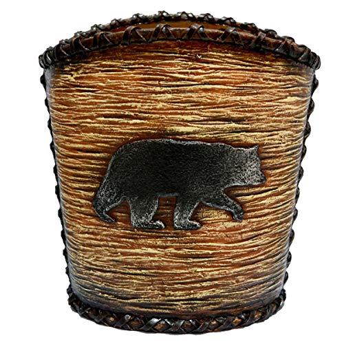 (MISC Black Bear Waste Basket, Brown Rustic Design Bears Animal Themed Garbage Can, Hunting Lodge Cabin Cottage Wildlife Nature Woods Any Room Bathroom Trash Bin Wastebasket, Resin)