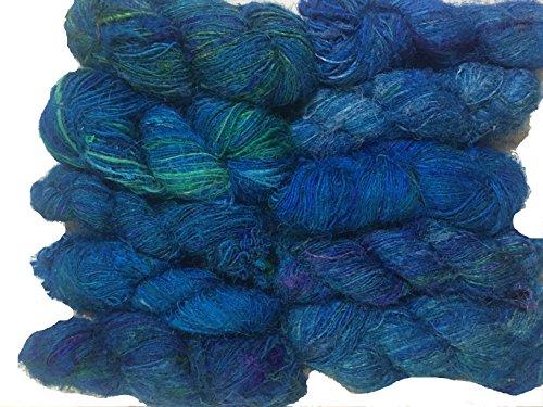 Knitsilk Premium Recycled Sari Silk Yarn - Blue Shade - 120 Yards - Handspun Yarn