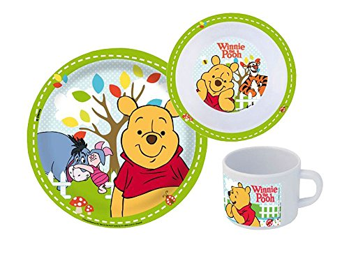 Winnie The Pooh Baby Plate (p:os 68934 Winnie The Pooh 3-Piece Breakfast Set with Plate Bowl and Mug by P:OS)