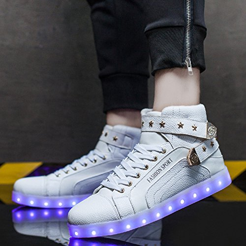 Joansam Led Shoes High Top Uomo & Donna Light Up Shoes Sneakers Lampo Metallo Ricarica In Metallo Bianco White2