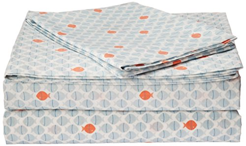 Percale Sheets Kids Bedding (Poppy & Fritz Fish Cotton Sheet Set, Queen)