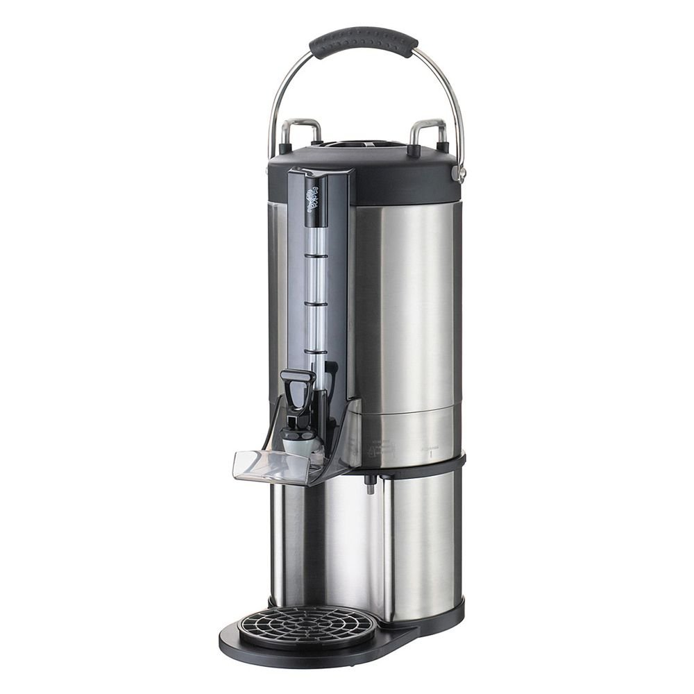 Service Ideas GIU15G Thermal Container, Large Capacity Satellite Dispenser, 1.5 Gallon (192 oz.), Brushed Stainless/Black