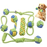 TIM Dog Rope Toys,Puppy Chew Teething Rope Toys Set of 8 Durable Cotton Dog Toys Squeak Toys for Playing Playtime and…