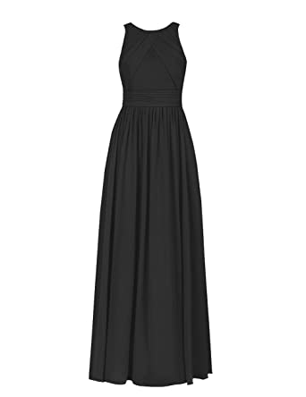 Bridesmaid Dresses Party Gowns Wedding Chiffon Long A-Line Ruched Formal Maxi Black US 2