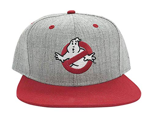fee55ad7a0c80 Ripple Junction Ghostbusters No Ghost Logo Flat Bill Snap Back Hat OS  Heather Grey