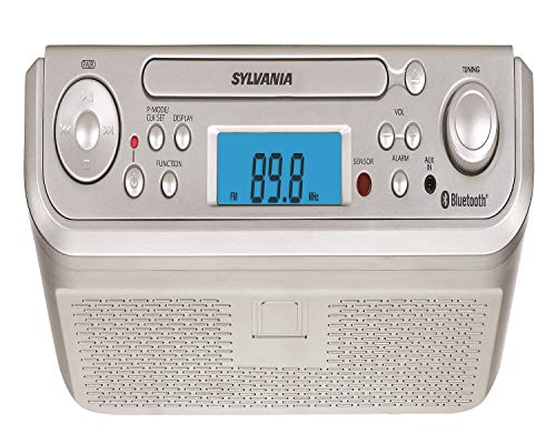 Sylvania SKCR2713 Under Counter CD Player with Radio and Bluetooth, Silver