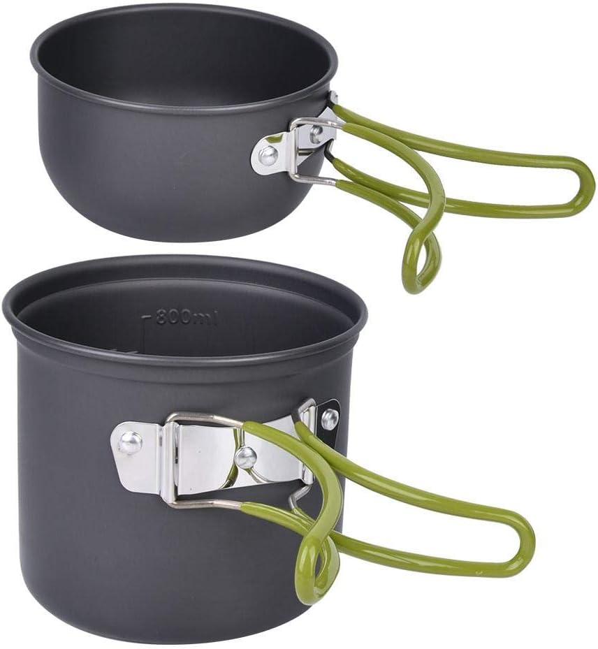 V GEBY Kit de Cuisine de Camping de 12 pi/èces avec casseroles et po/êles en carbure de tungst/ène Essentiel avec Un Sac pour 1-2 Personnes