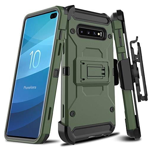 LEAPTECH Hard Galaxy S10 Plus Case, [Holster Series] Full Body Heavy Duty Armor Protective Phone Case Cover with Kickstand and Belt Clip for Compatible for Samsung Galaxy S10+ (Natural) - Heavy Duty Holster