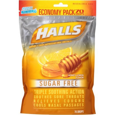Halls Sugar Free Honey Lemon Flavor Cough Drops, 70 (Vapor Action Honey)