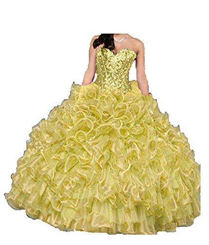 Cristallo Innamorato Sfera Di 16 Quinceanera Abito Lungo Vestito Giallo Colore Donne Volant Dolce Angela Delle Tqt75E
