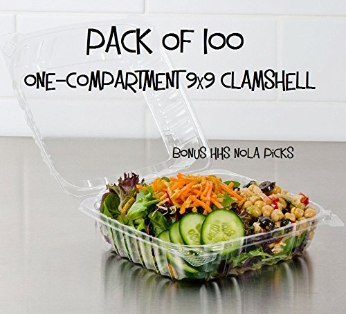 Pack of 100 Large Clear Plastic Hinged Food Container 9x9