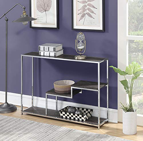 Convenience Concepts 134199WGY Wilshire Console Table, Weathered Gray/Chrome,